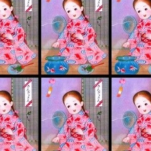 vintage kids traditional japanese oriental chinese dolls girls children fans pigtails kimono geisha gold fishes cartoons comic anime anime