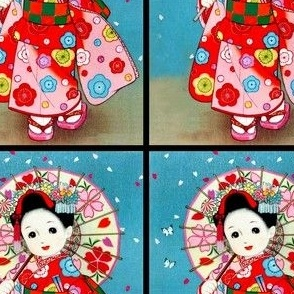 vintage retro traditional japanese oriental chinese dolls girls sakura children kimono geisha flowers princess umbrellas butterflies butterfly anime