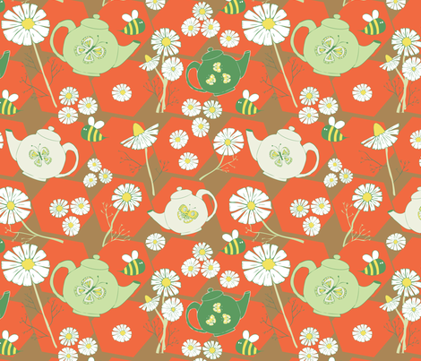 Chamomile & Honey Tea Time (red) fabric by sewsleepy on Spoonflower - custom fabric