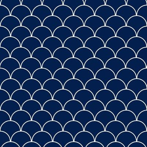 Navy Blue and White Scallop Pattern