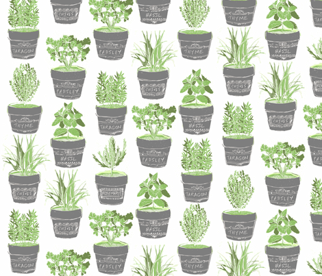 herbs in chalkboard pots fabric by bubbledog on Spoonflower - custom fabric