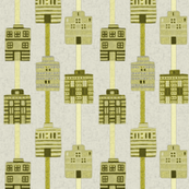 Yellow, olive, gray woven house stripes