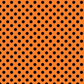 Black fox polka dot on orange