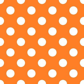White fox polka dot on orange