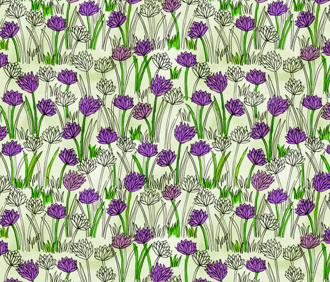 A Field of Chives fabric by robyriker on Spoonflower - custom fabric