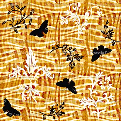 leafy weave fleur de lis and butterflies rum