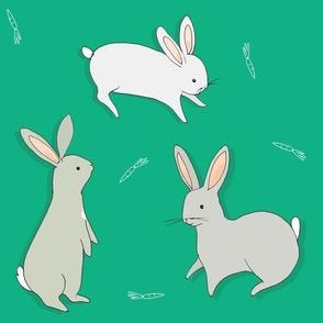 bunny rabbits - green + grey