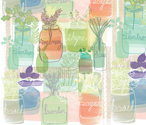 Herb Garden in Jars fabric by anne_lehman on Spoonflower - custom fabric