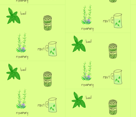 herb garden green fabric by olafdesigns on Spoonflower - custom fabric