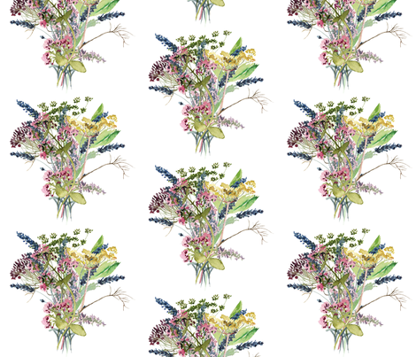 Herbal Flowers fabric by deepcoveflowers on Spoonflower - custom fabric