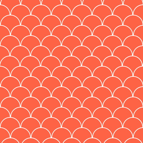 Coral and White Scallop Pattern  fabric by jannasalak on Spoonflower - custom fabric