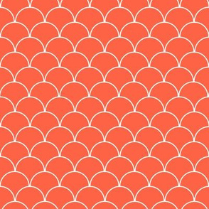Coral and White Scallop Pattern