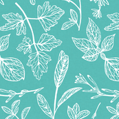 Herb Leaves Turquoise