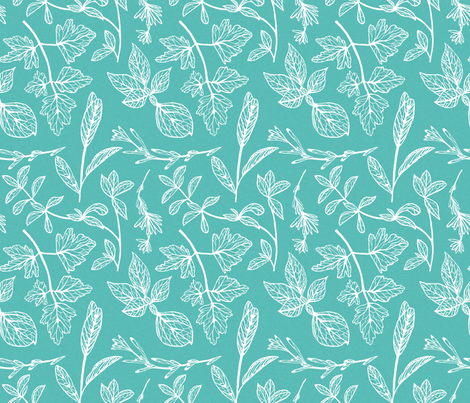 Herb Leaves Turquoise fabric by megtannahill on Spoonflower - custom fabric