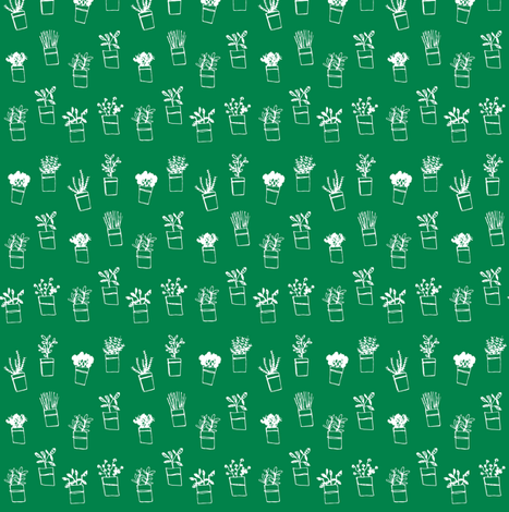 Green herbs fabric by laura_the_drawer on Spoonflower - custom fabric
