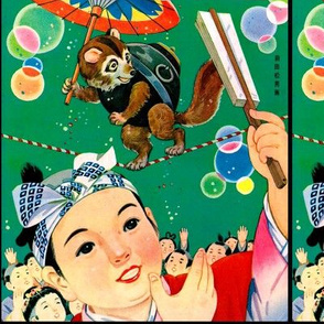 vintage retro traditional japanese oriental village umbrella circus kimono geisha boys folk tales stories story ninja samurai badgers raccoons dogs