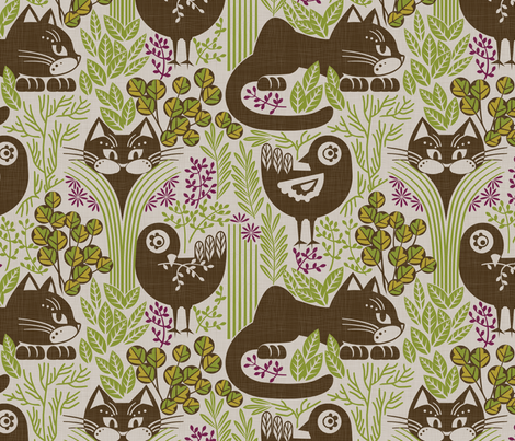 herbs cats and birds fabric by cjldesigns on Spoonflower - custom fabric