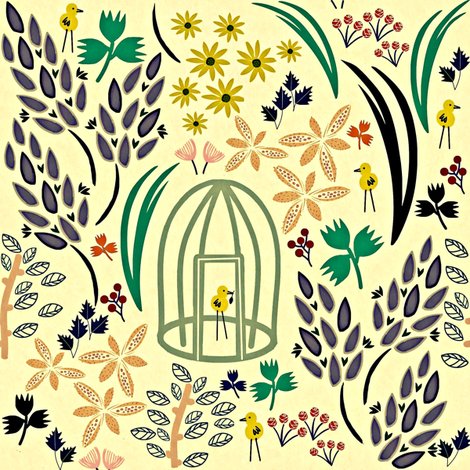 Herbal Tweets fabric by susan_polston on Spoonflower - custom fabric