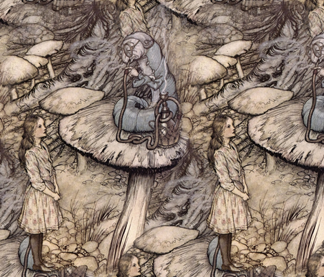 Alice & The Caterpillar ~ Three Feet Tall fabric by peacoquettedesigns on Spoonflower - custom fabric