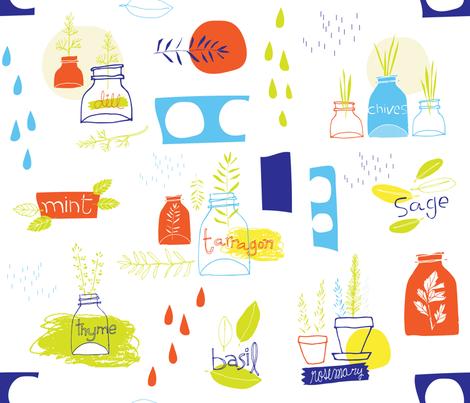 Soft-Honest-Herbs_bright_TM fabric by tracymattocks on Spoonflower - custom fabric