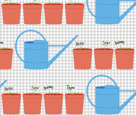 indoor herb garden starter set fabric by victorialasher on Spoonflower - custom fabric
