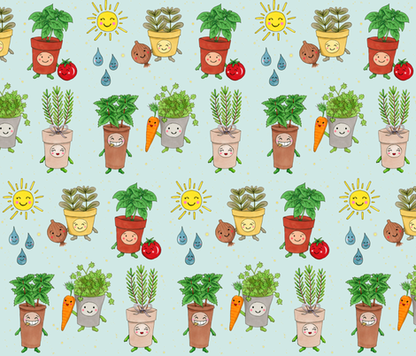 Happy Herb Garden fabric by thequirkyquince on Spoonflower - custom fabric