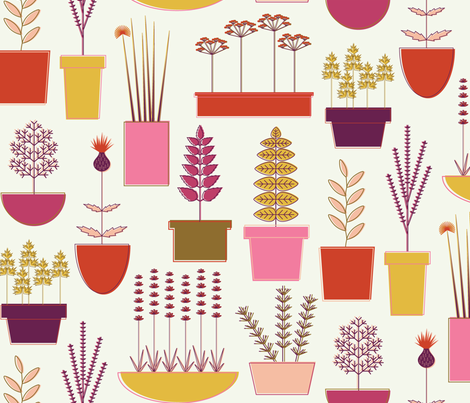 Colorful Potted Herbs fabric by katerhees on Spoonflower - custom fabric