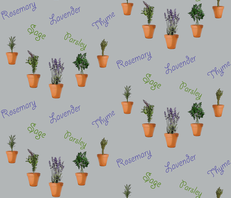 Herbs in pots fabric by zsmama on Spoonflower - custom fabric