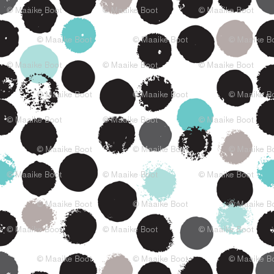 Geometric grunge raw brush stroke bubble dots