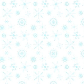 snowflakes small blue on white