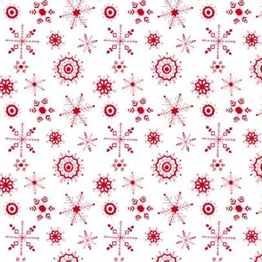 snowflakes small red on white