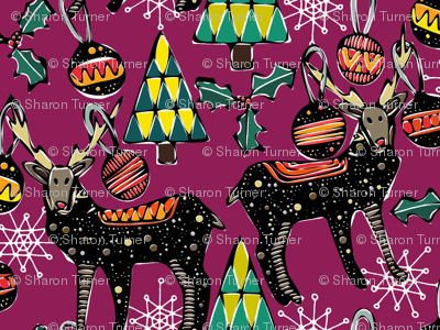 festive deer purple large