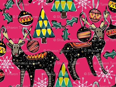 festive deer pink large