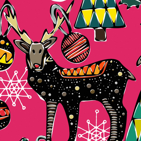 festive deer pink large fabric by scrummy on Spoonflower - custom fabric