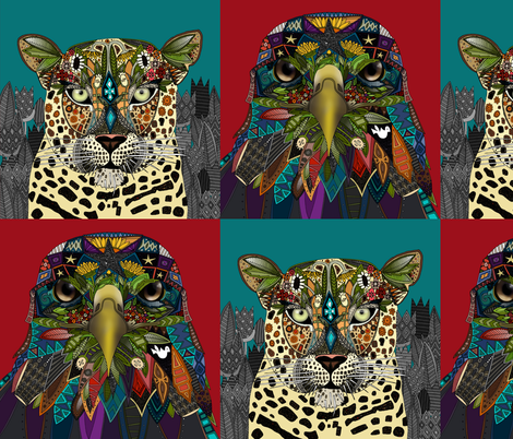 American Eagle Leopard Queen art panels fabric by scrummy on Spoonflower - custom fabric