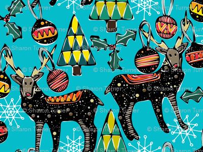 festive deer blue large