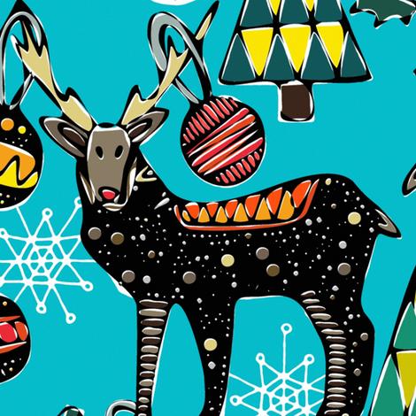 festive deer blue large fabric by scrummy on Spoonflower - custom fabric
