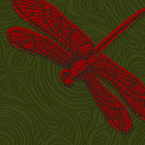 Dragonfly damselfly dragonfly - red & green