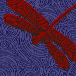 Dragonfly damselfly dragonfly - red & purple