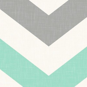 Bold Chevron in in Mint and Cashmere Linen
