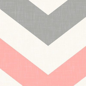 Bold Chevron in Coral and Gray Linen