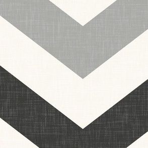 Bold Chevron in Carbon and Black Linen
