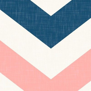 Bold Chevron in Navy and Coral Pink Linen