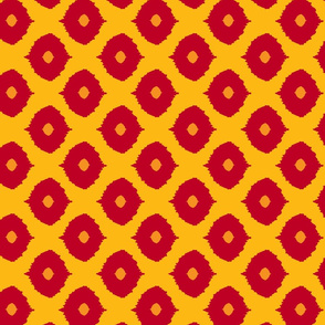 Ikat Eyes French Mustards & Reds