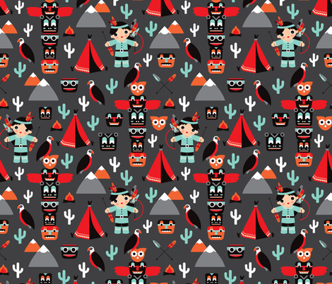 Wild west totem pole and indian mask pattern DARK