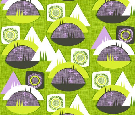 Lake Hill Mountain fabric by spellstone on Spoonflower - custom fabric