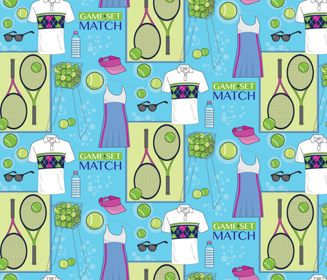 Tennis Essentials fabric by designs_by_lisa_k on Spoonflower - custom fabric