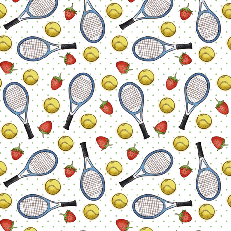 Tennis and Strawberries fabric by hazel_fisher_creations on Spoonflower - custom fabric