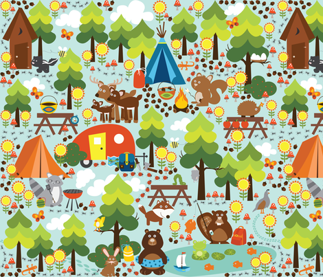 Camping in the Fall fabric by oliveandruby on Spoonflower - custom fabric