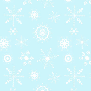 snowflakes large white on blue